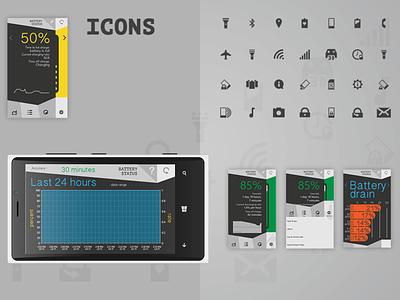Battery Status design app battery icon windows windows app app design ux ui ux ui app mobile app mobile