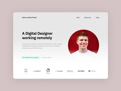 New Portfolio Design clean minimal freelance landing page portfolio web website design