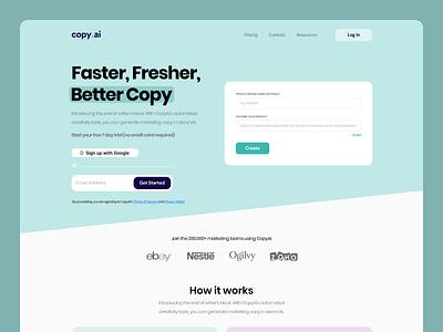SaaS | Homepage redesign conversion minimal modern web design website web saas copy.ai ux ui clean design