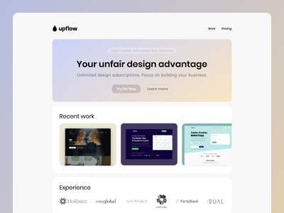 Unlimited Design   Landing Page agency simple modern web design minimal web ux ui clean design