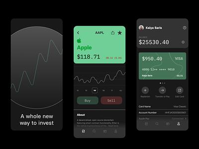 Investing App   UI Design money apple green simple investing finance fintech mobile ios minimal ui clean design