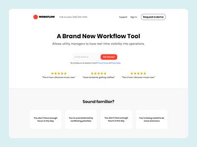 Workflow Tool   Landing Page modern workflow web design web ui ux clean design