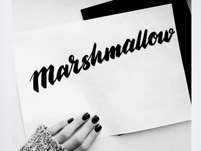 Marshmallow hand lettered sketch