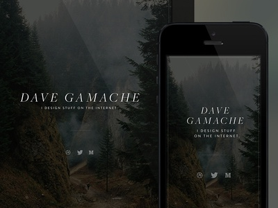 New Personal Site davegamache personal splash single page typography social