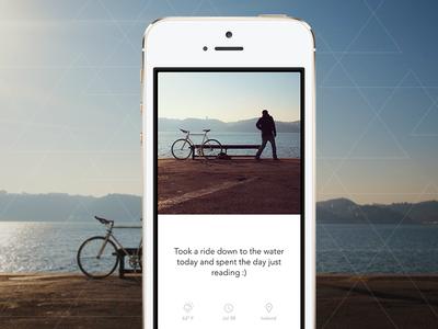 Wander Card wander memory iphone app ui ux minimal