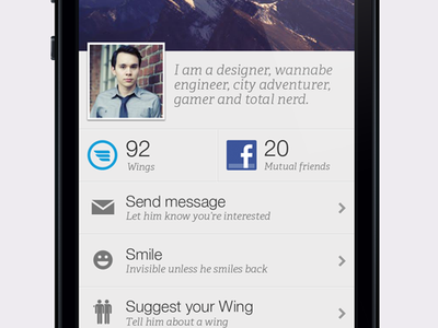 Profile header iphone ios profile simple clean list facebook avatar adelle proxima nova