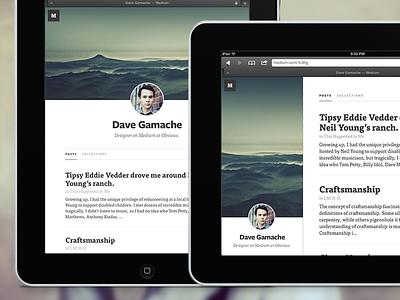 Medium.com profile for iPad ipad medium mobile cover typography profile
