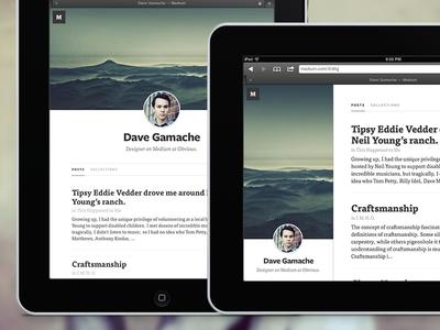 Medium.com profile for iPad