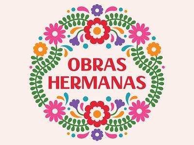 Obras Hermanas mexican folk art mexican colorful logo cute logo logo