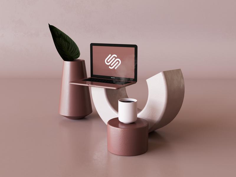 Squarespace squarespace design pink render mock 3d octane corona c4d squarespace