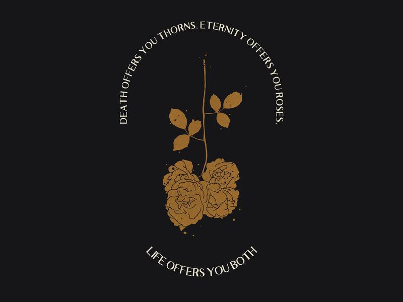 LIFE OFFERS rosebud logobranding logos brand type texture rose gold rose typography logo illustrator branding flat vector illustration design