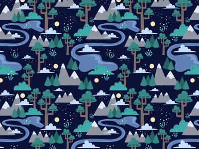 Moonlit Woodland Pattern graphic sky woods mountain trees forest design pattern vector fabric illustration