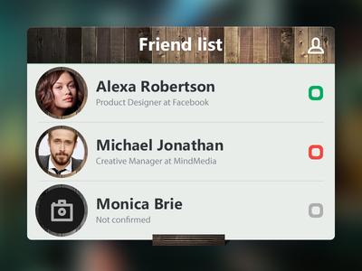 Friend list friend list user interface online offline