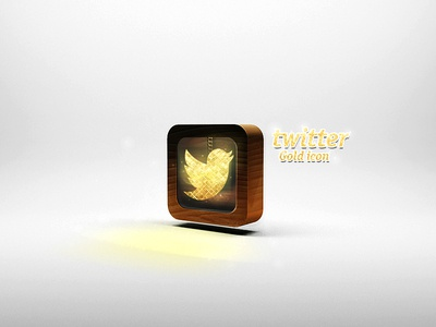 Twitter Gold icon twitter gold icon wood