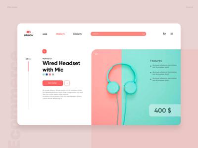 Headset web design; UI desktop