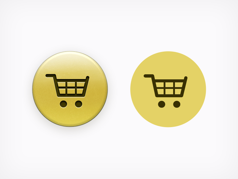 Skeuomorphic vs Flat Design button skeuomorphism flat cart gold yellow ecommerce e-commerce