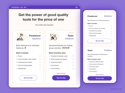 Pricing page adobexd ui ux ui ux daily ui mobile app dailyui adobe xd price pricing plan pricing page