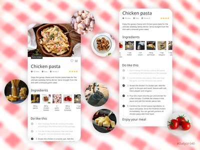 Recipe app adobe xd dailyui adobexd ui ux recipe book daily ui uiux ux ui mobile app food recipe app recipe