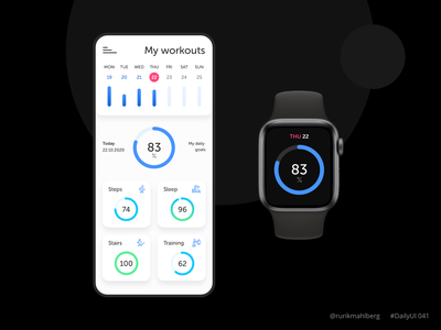Workout tracker app apple watch design trendy minimal ui ux ui daily ui fitness health sport mobile app tracker workout