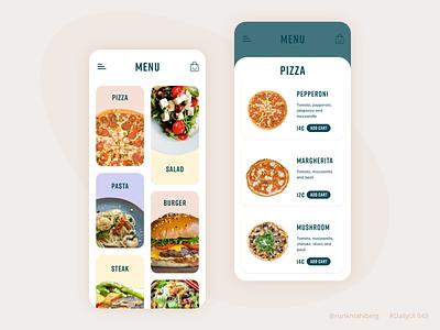 Food menu app clean ux ui minimalist trendy modern dailyui pizza food app food menu food and drink