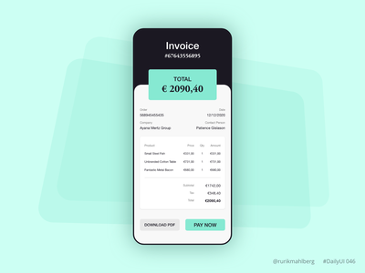 Invoice daily ui interface app mobile design color trendy minimalist modern checkout payment invoice