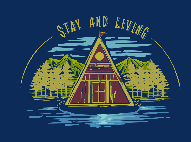 Stay and living in cottage with vintage style illustration outdoor design outdoor badge outdoor living stayhome cottage nature illustrator handdrawn vintage illustration vintage design vintage digitalillustration digitalart comission tshirt design illustration design