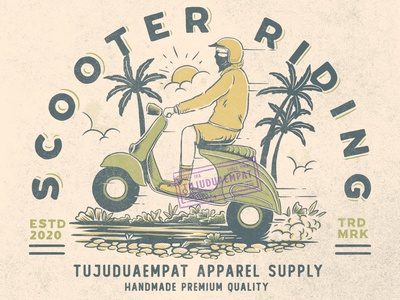 Scooter Riding ride riding scooter scooters motorcycles old style motorbike vintage design nature summertime branding vintage handdrawn digitalillustration tshirt design illustration design