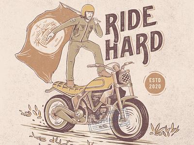 Ride Hard riding rider motorcycle motorbike typography illustrator vintage design vintage handdrawn digitalillustration tshirt design illustration design