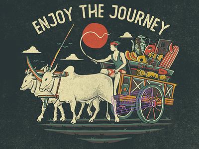 Cikar outdoor journey traditional transportation transport vintage design vintage handdrawn tshirt design illustration design