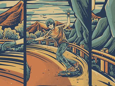 Keep Rolling Keep Pumping downhill nature skateboarding skateboard longboard comission outdoor vintage design vintage handdrawn tshirt design illustration design