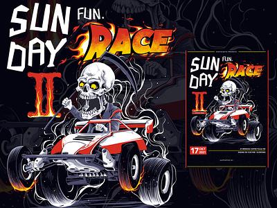 Sun Race artwork posterillustration poster engine racing race tamiya skull digitaldrawing digitalillustration handdrawn tshirt design illustration design