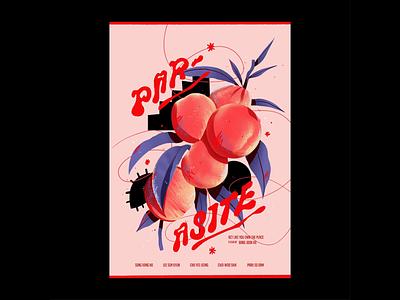 Parasite Poster procreate poster design graphic design botanical poster movie peaches parasite illustration
