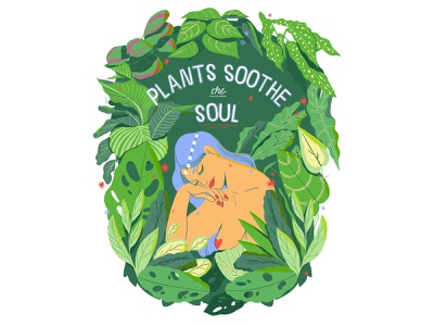 Plants south the soul naked girl mindful hand lettering cactus monsterrataz plants leaves nature woman character lettering flat typography texture illustration