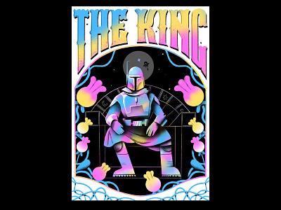 King of the Underworld - Boba Fett graphic design poster design movie poster poster stars nerd gradient risograph baby yoda boba fett the mandalorian star wars typography texture illustration