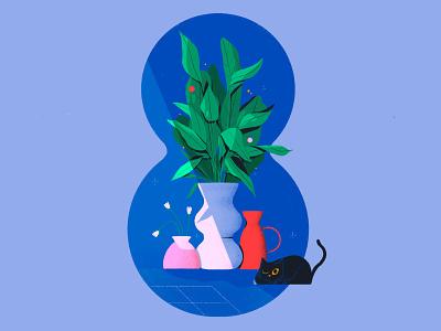 Dont disturb the cat 🐱 plants cat animal shadows light lettering typography design texture flat illustration