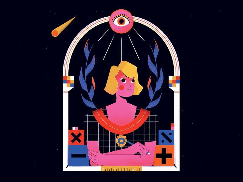 Kathleen Ollerenshaw portrait astrology maths geometric manchester women texture flat illustration