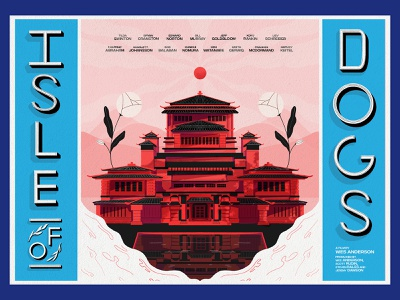 Isle of Dogs Poster japan building texture typography illustration risograph movie poster poster wes anderson isle of dogs