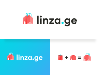 linza.ge shopping bag and house logo