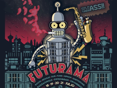 L'embolic  presenta : Futurama 2019! music art digital art cartel vector illustration design
