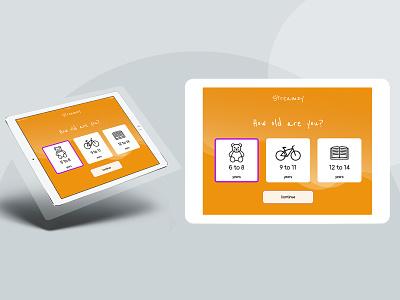 Onbording screen for tablet device branding responsive design ui app ux design onboarding ui streaming children tablet onboarding