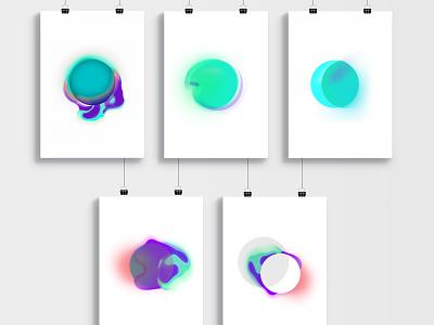 Vibrant gradient artworks gradient design vector ui illustration