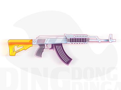 Ding Dong Gun illustration art illustration game asset game art minimal shots armstrong gun