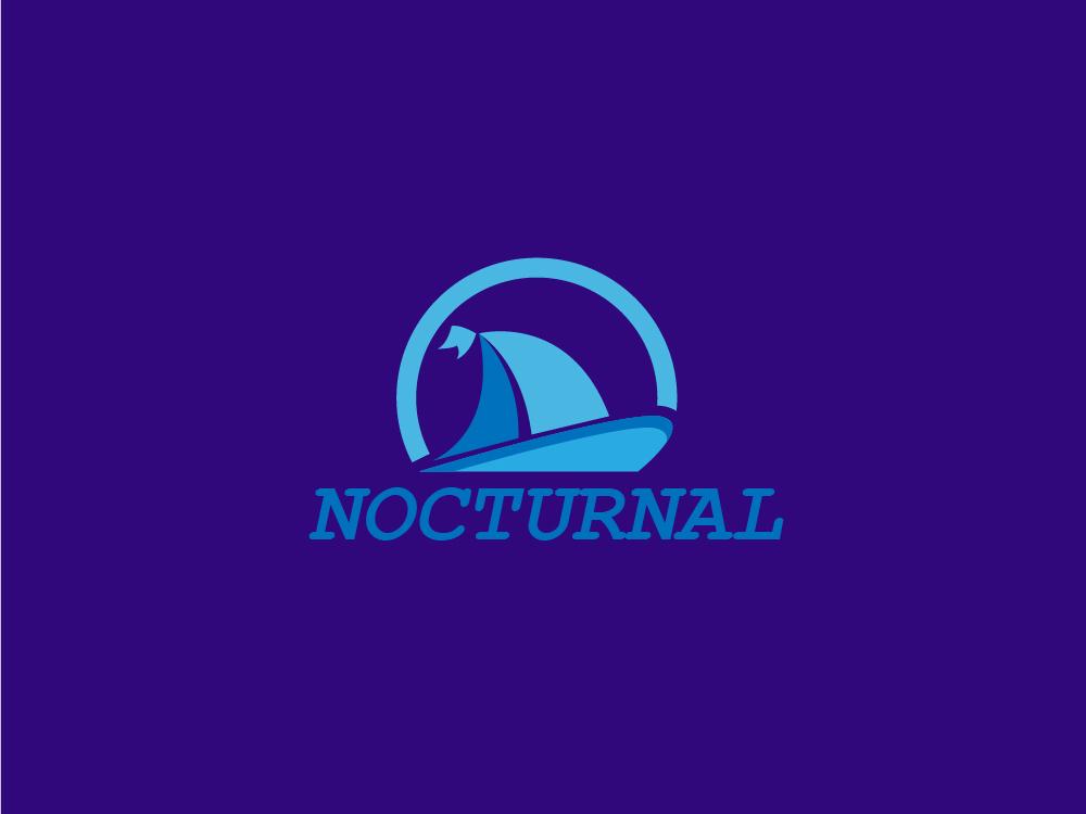 Nocturnal logo identity hello dribbble purple logo professional design boat ship typography blue minimal logo icon graphic  design flat dribbble design color branding