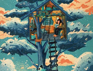 Treehouse cartoon illustration cartoon digitalart digital illustration procreate illustration art children book illustration childrens book childrens illustration character illustration