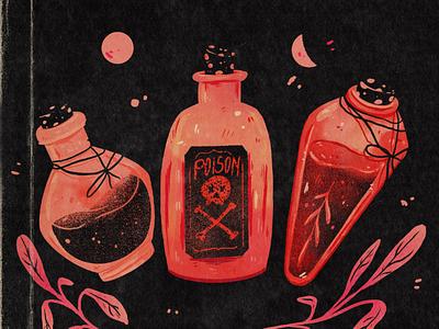 Potions texture procreate cartoonillustration cartoon drawing bottle potion witch art design illustration