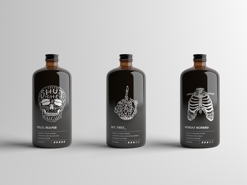 Shut The FuCup Cold Brew Coffee Packaging layout coffee package design illustration branding