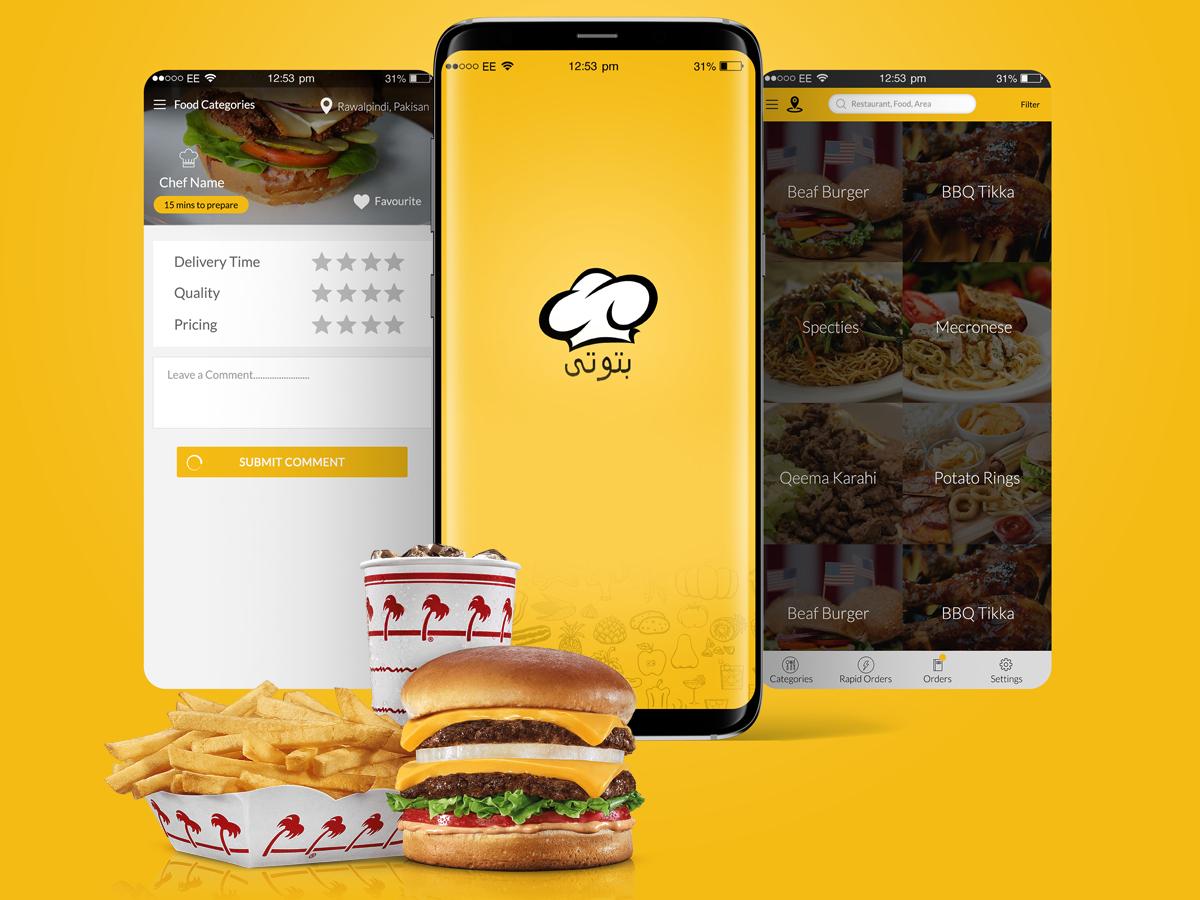 Batooti logo design branding graphic design mobile app development company mobile app development online ordering creative app food app uxdesign uidesign mobile app design mobile app