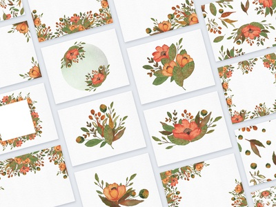 Autumn watercolor floral collection