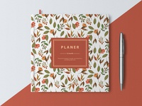 Notebook with autumn watercolor seamless pattern.