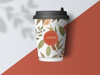 Coffee Cup with floral watercolor illustration.
